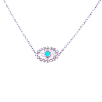 "SS Turquoise ""Dew Drop"" Evil Eye Pendant"