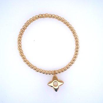 18k Yellow Gold Bead & Flower Charm Bracelet