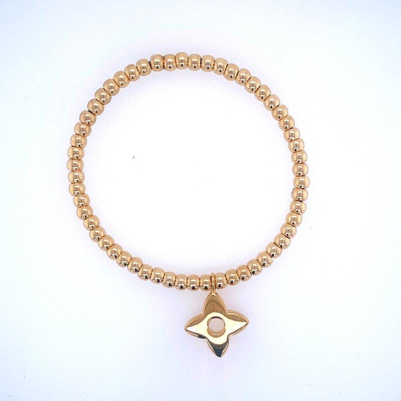 David Harvey Everyday Collection 18k Yellow Gold Bead & Flower Charm Bracelet