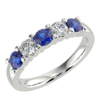 Sapphire and Diamond 5 Stone Band