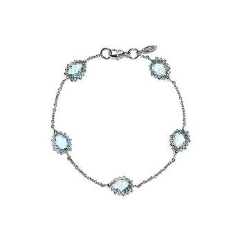 Blue Topaz Dew Drop Pear Link Bracelet