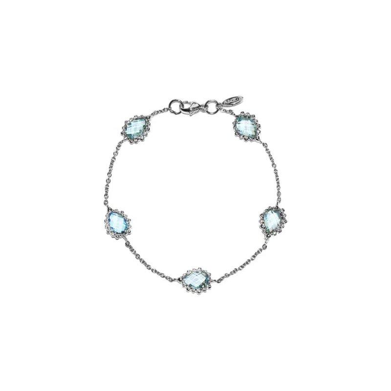 Anzie Blue Topaz Dew Drop Pear Link Bracelet