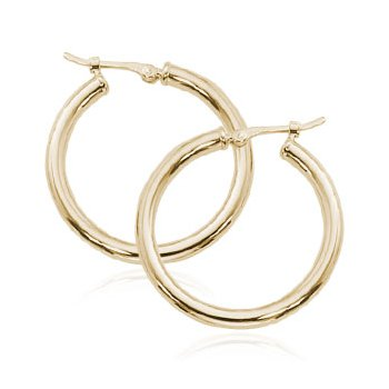 14K Yellow Gold 25mm Tube Hoops