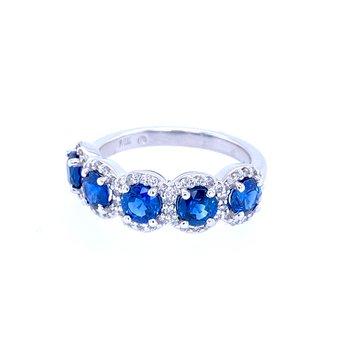 14KW Sapphire & Diamond Band