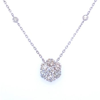 14KW 2.02ctw Diamond Flower Pendant
