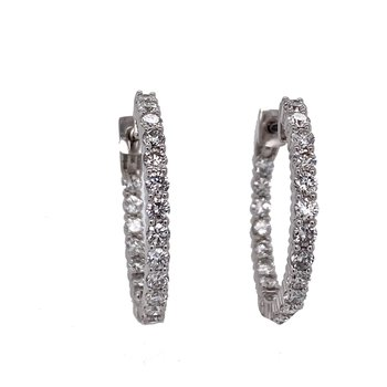 "14KW 2.00ctw 1.0"" Diamond Hoops"