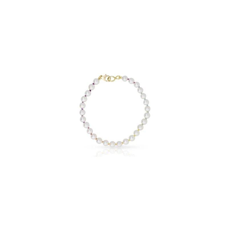Mined and Found Knotty Mini Freshwater Bracelet on Rainbow Silk™