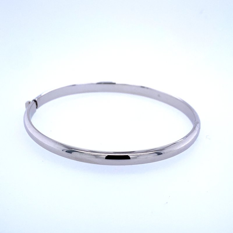 David Harvey Everyday Collection 14k White Gold 5mm Hinged Bangle Bracelet