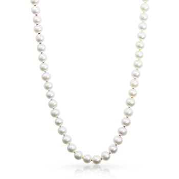 """Knotty 7mm Freshwater Pearl 18"""" Necklace on Rainbow Silk™"""