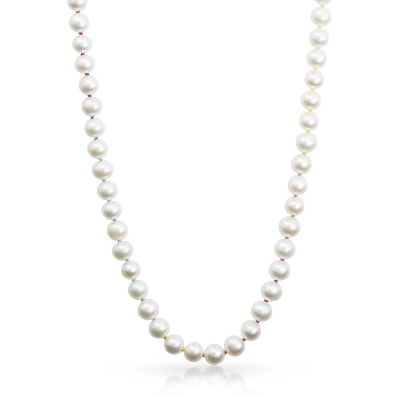 """Mined and Found Knotty 7mm Freshwater Pearl 18"""" Necklace on Rainbow Silk™"""