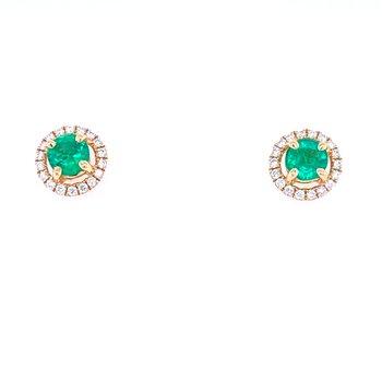 14KY Emerald & Diamond Studs