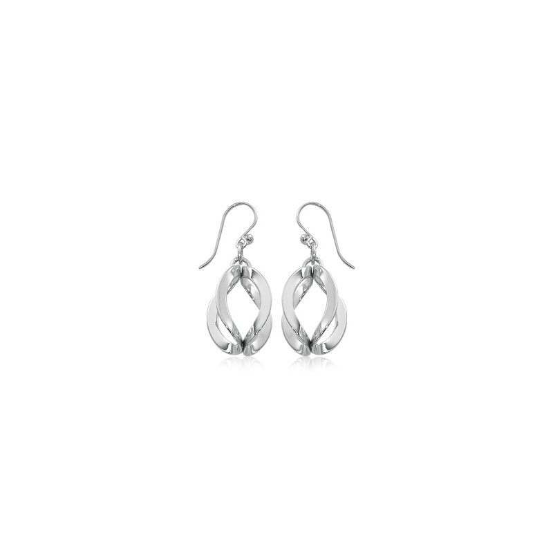 David Harvey Everyday Collection Sterling Silver Folded Double Circle Earrings