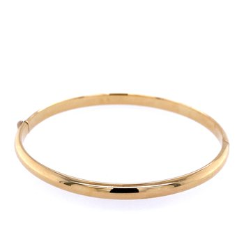 14k Yellow Gold Oval Hinged Bangle