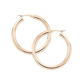 14K Yellow Gold 30mm Tube Hoops