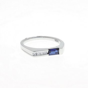 Blue Sapphire and Diamond White Gold Ring