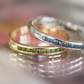 Yellow Gold and Green Diamond Ring