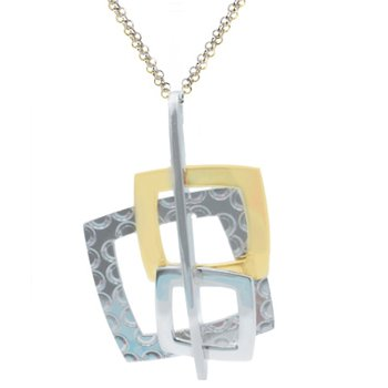 Sterling Silver and Yellow Plated Square Necklace