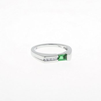 Emerald and Diamond White Gold Stackable Ring