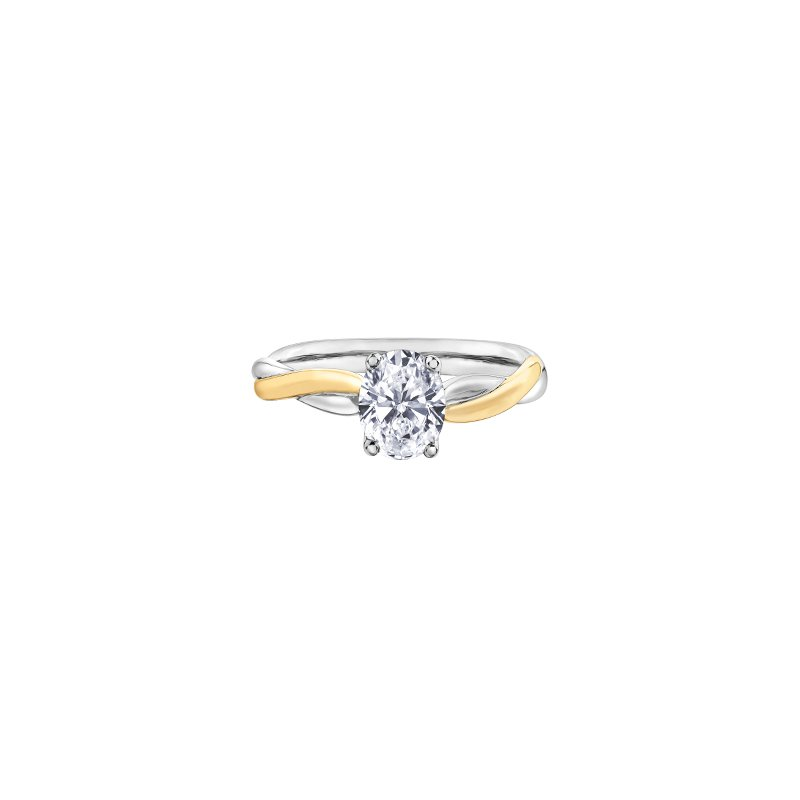 Maple Leaf Diamonds Twist Solitaire Oval Engagement Ring in Yellow and White Gold
