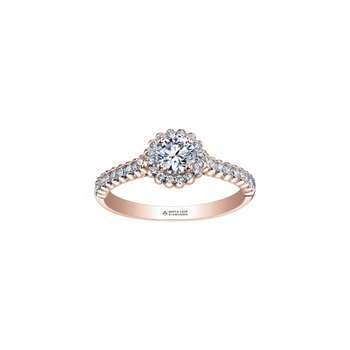 Eternal Flames Halo Engagement Ring in Rose Gold