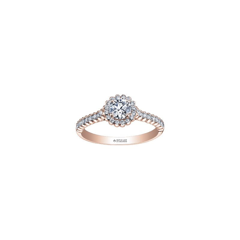 Maple Leaf Diamonds Eternal Flames Halo Engagement Ring in Rose Gold