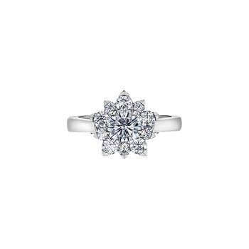 150 Cut Collection Floral Halo Engagement Ring