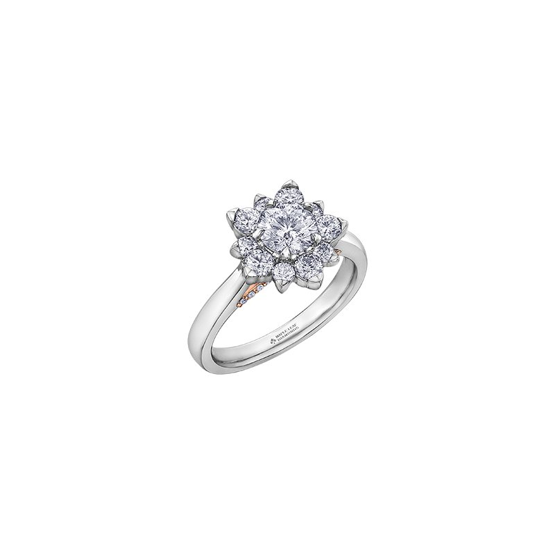 Maple Leaf Diamonds 150 Cut Collection Floral Halo Engagement Ring