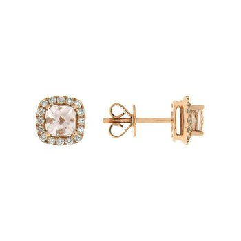 Morganite Cushion Halo Stud Earrings