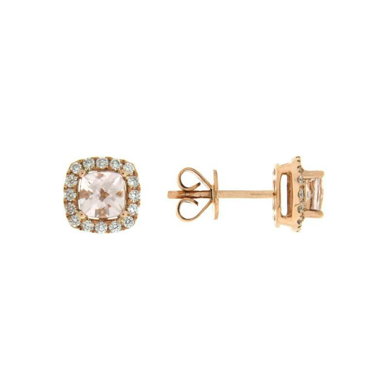 Davidson's Signature Morganite Cushion Halo Stud Earrings