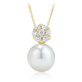 Diamond Cluster and Pearl Pendant