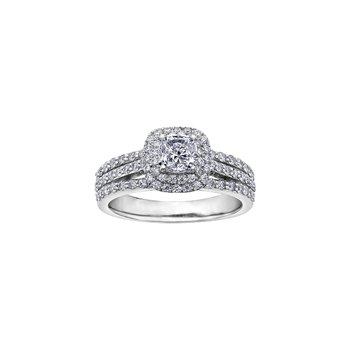 Stacked Cushion Halo Engagement Ring
