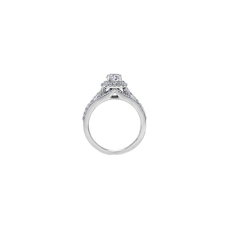 Maple Leaf Diamonds Stacked Cushion Halo Engagement Ring
