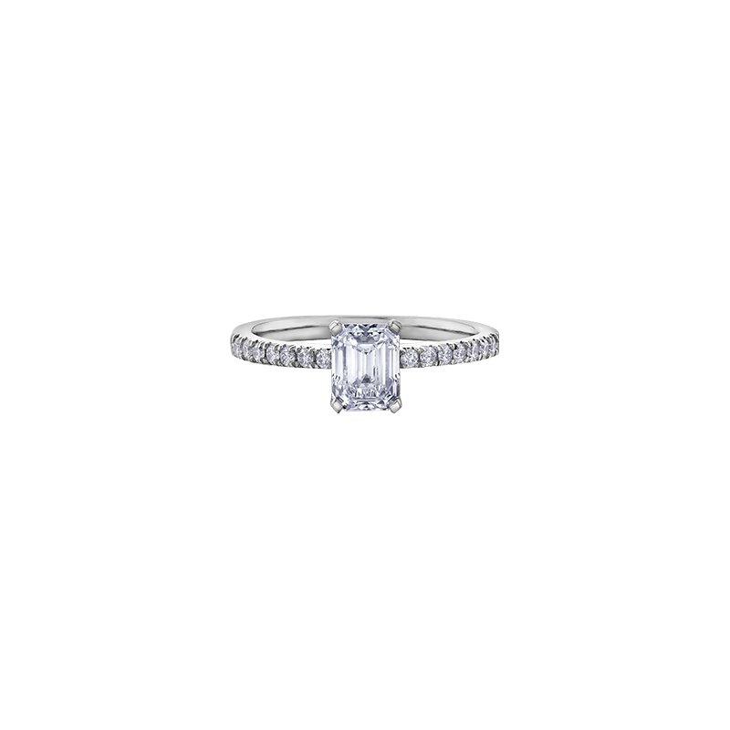 Maple Leaf Diamonds Eternal Flames Emerald Diamond Engagement Ring