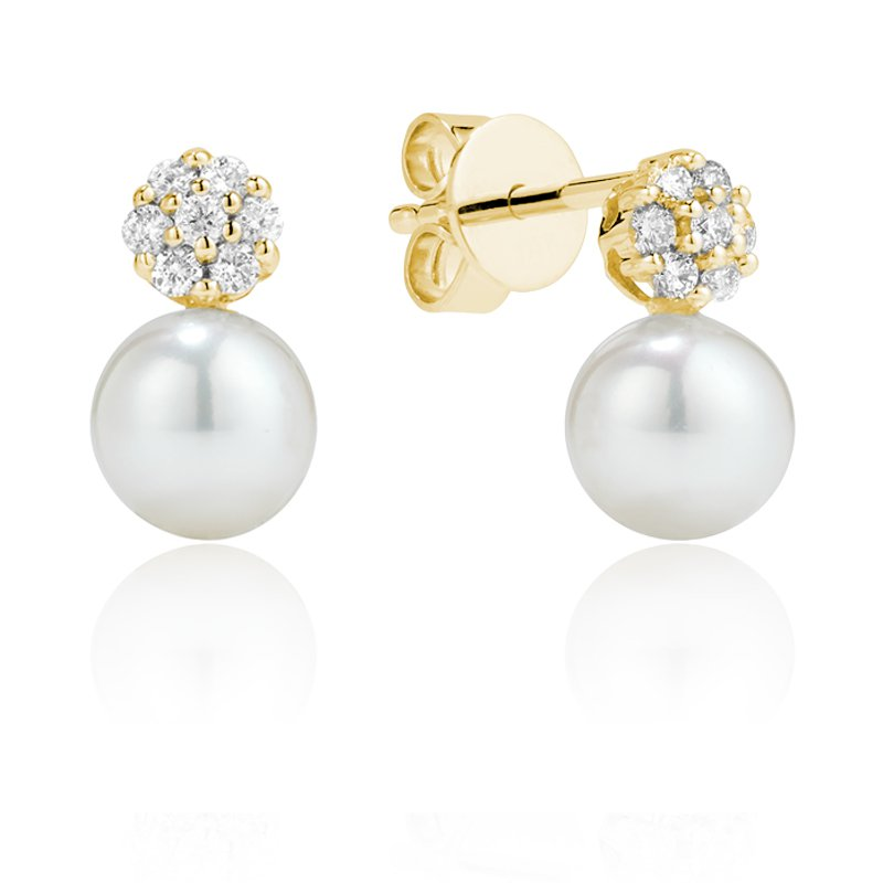 RnB Jewellery Diamond Cluster and Pearl Drop Earrings