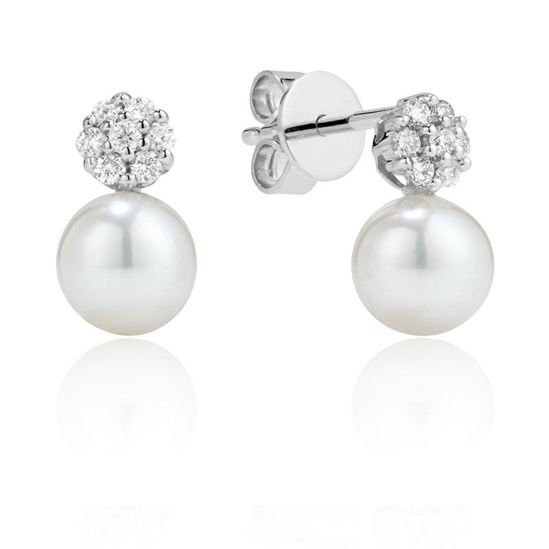 RnB Jewellery Diamond Cluster and Pearl Drop Earrings