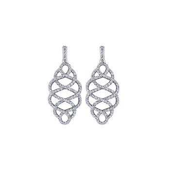 Calligraphic Diamond Drop Earrings