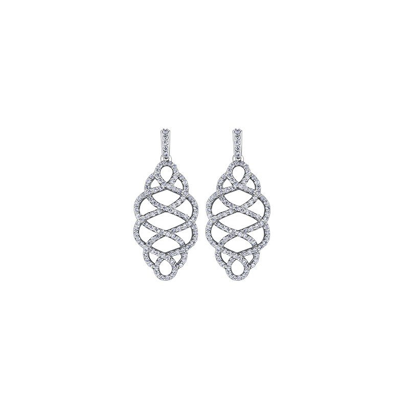Maple Leaf Diamonds Calligraphic Diamond Drop Earrings