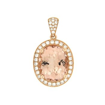 Large Morganite Oval Halo Pendant