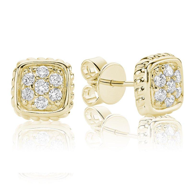 RnB Jewellery Diamond Treasures Small Square Stud Earrings