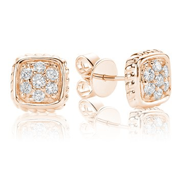 Diamond Treasures Small Square Stud Earrings