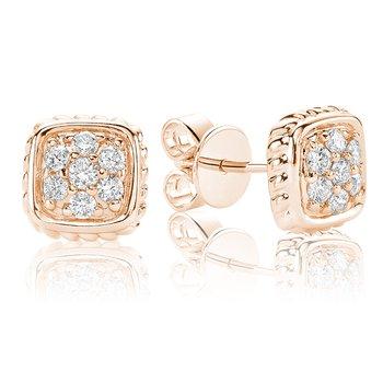Diamond Treasures Small Square Stud Earrings