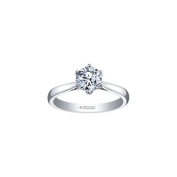 Eternal Flames 6 Prong Solitaire Ring in White Gold