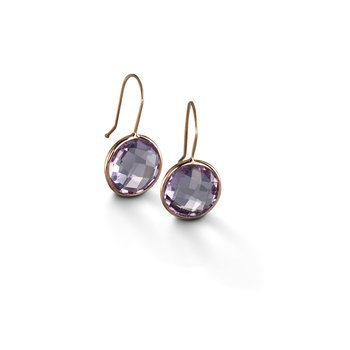 Large Pink Amethyst Drop Earrings
