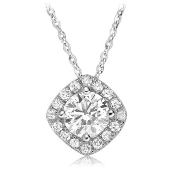 Diamond Cushion Halo Pendant
