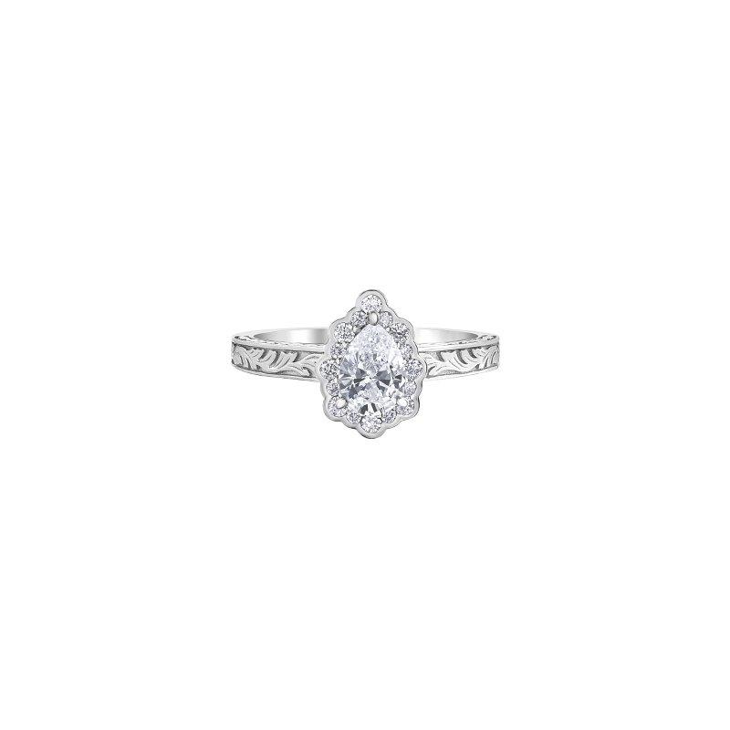 Maple Leaf Diamonds Pear Shaped Halo Engagement Ring