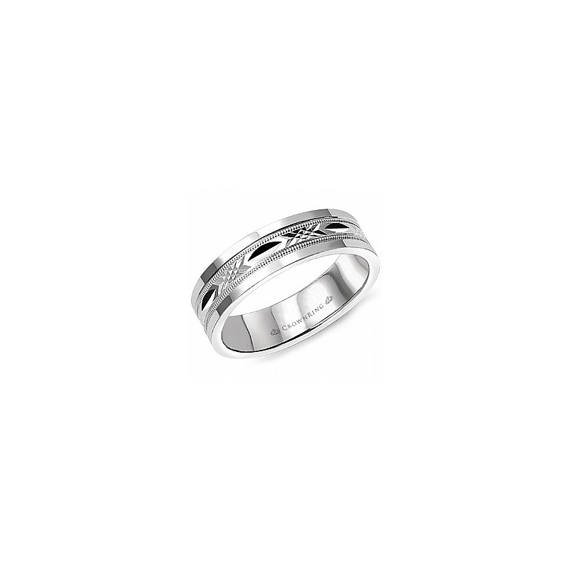 CrownRing Carved Centre Wedding Band