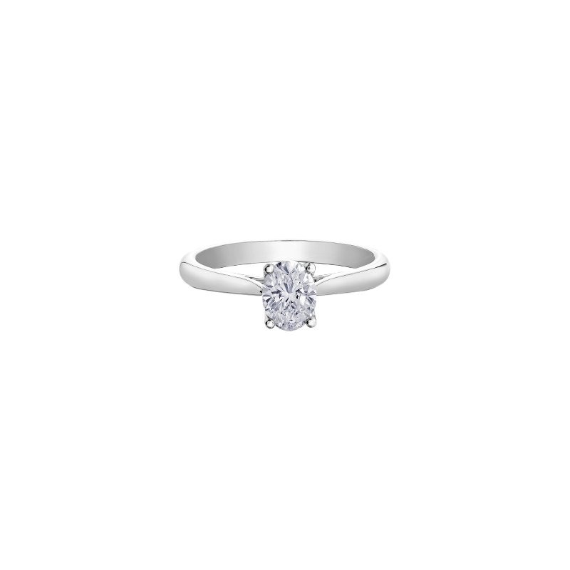 Maple Leaf Diamonds Eternal Flames Oval Solitaire Ring in White Gold