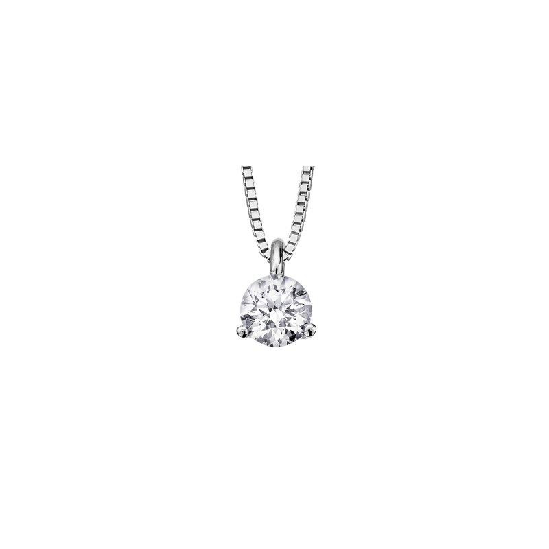 Maple Leaf Diamonds Three Prong Solitaire Pendant