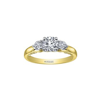 Tides of Love Three Stone Engagement Ring in Yellow Gold