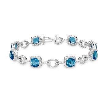 Blue Topaz and Diamond Bracelets